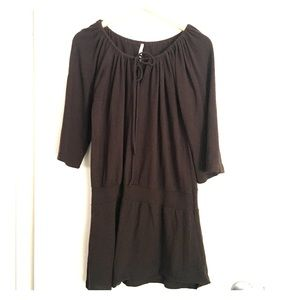 Brown V-neck sweater dress with tie size M/ L